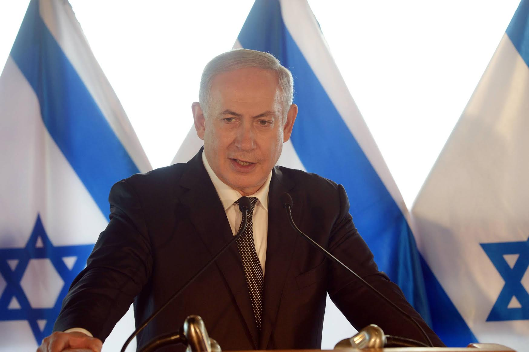 Prime Minister Benjamin Netanyahu holding a Press Conference in Rome, Italy. Crédit photo : Amos Ben-Gershom (GPO)