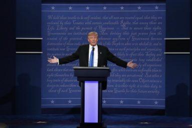 Republican U.S. presidential nominee Donald Trump speaks during the first debate with Democratic U.S. presidential nominee Hillary Clinton at Hofstra University in Hempstead