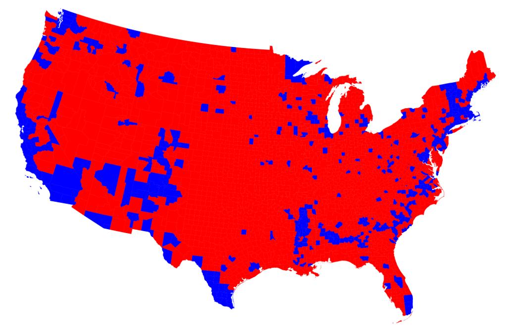 Vote par comté (rouge = Donald Trump)