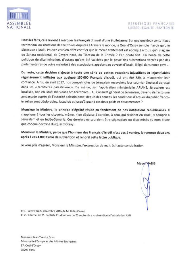 Lettre De Meyer Habib Au Ministre Des Affaires Etrangeres L