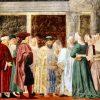 Visite de la reine de Saba au roi Salomon, par Piero Della Francesca. Détail de la fresque (accueil et reconnaissance) dans la basilique San Francesco d'Arezzo, grande chapelle des Bacci (entre 1459-1466). Source textuelle Roi, livre 1er, X, 1.